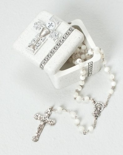 First Holy Communion Silver Chalice Resin Stone Keepsake Rosary Jewlery Box