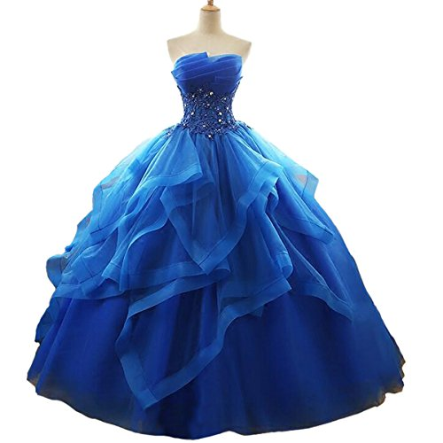 - Fair Lady Ruffles Ball Gown Long Quinceanera Dresses Strapless Lace Beaded Prom Dress Princess Gowns Royal Blue