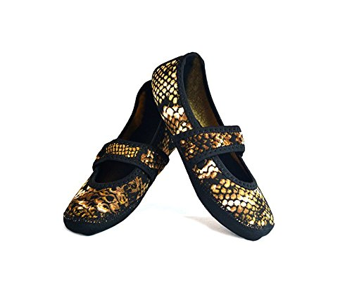 Nufoot Betsy Lou Fuzzies Women's Shoes, Best Foldable & Flexible Flats, Slipper Socks, Travel Slippers & Exercise Shoes, Dance Shoes, Yoga Socks, House Shoes, Indoor Slippers, Gold Snake, X Large