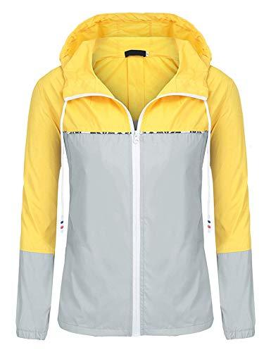 Fashionable Spring - UUANG Womens Outdoor Waterproof Lightweight Windbreaker Raincoat Hooded Rain Jacket (Yellow/Grey,XXL)