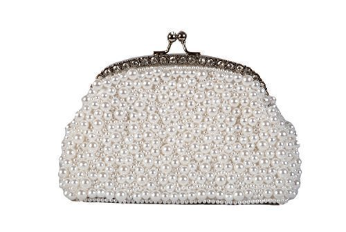 Monedero bolso de mano blanco perla noche estilo de agarrar ...