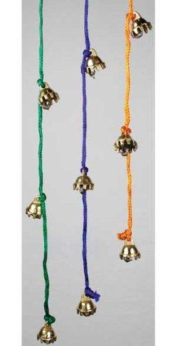 AzureGreen Ten Tiny Brass Bells on Bright Colorfull String Each Sold Separately