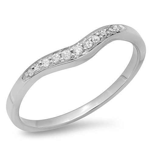 Dazzlingrock Collection 0.11 Carat (ctw) 18K Round White Diamond Wedding Stackable Contour Guard Band, White Gold, Size 4