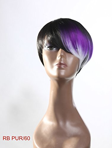 Wig Bob Pixie Tousle Black Brown Purple Grey White Color Block Ombre Regular Wear or Party Cosplay Kanekalon (2 Wig Caps (Party City Wig Cap)