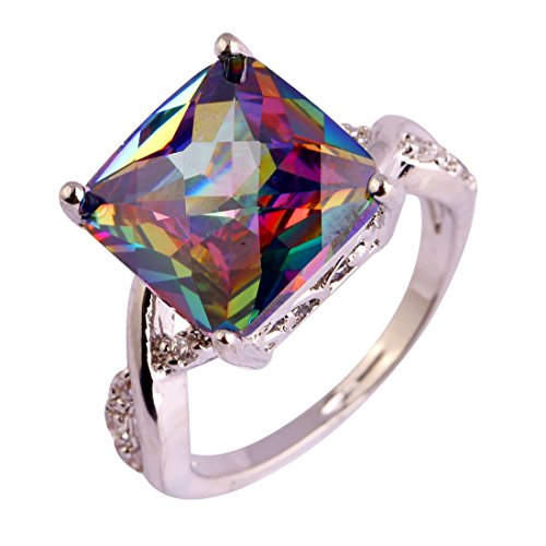 Psiroy 925 Sterling Silver Created Rainbow Topaz Filled Square Twisted Knot Engagement Ring Size 7
