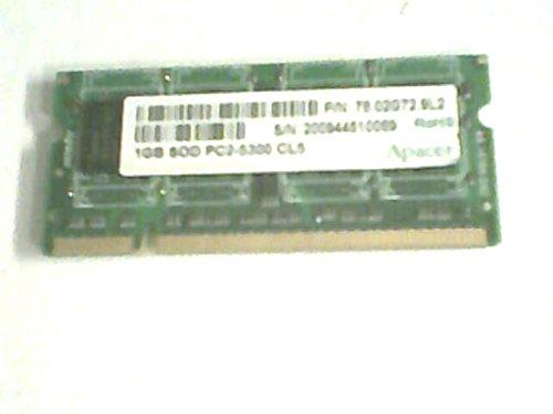 Apacer 78.02G72.9L2 1GB SOD PC2-5300 CL5 Laptop Memory, (Apacer Laptop Memory)
