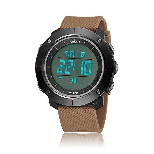 Quartz Day Watch Date (OHSEN Young Womens Girls Digital Time Sport Day Date Quartz Silicone Wrist Watch in Light Brown)