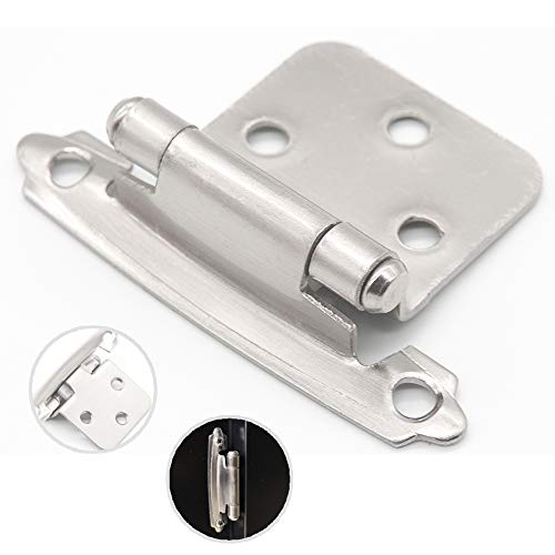 - Silver Moon Hardware Overlay Cabinet Hinges, for Kitchen Cabinets, for Bathroom Cabinets, Variable, Self Closing, (25 Pairs Satin Nickel)