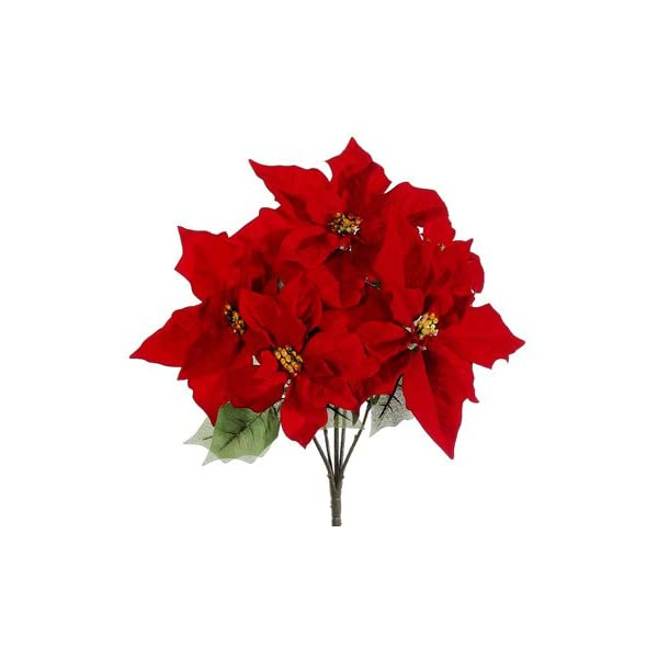 19″ Water-Resistant Poinsettia Bush x5 Red (Pack of 12)