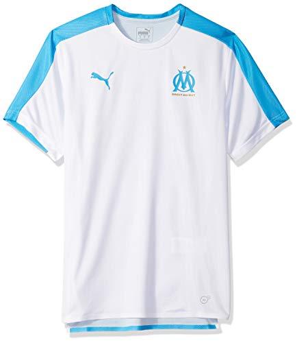 09edb1fbb9 PUMA Men's Olympique DE Marseille Stadium Jersey, White/bleu Azure, L