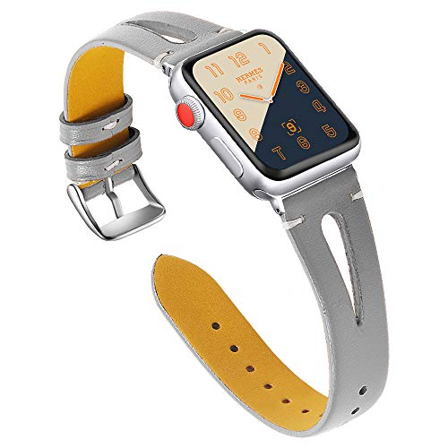 MEFEO Leather Bands Compatiable for Apple Watch Band 38mm 40mm 42mm 44mm, Slim Strap with Breathable Hole Wristband Replacement for iWatch Series 4 3 2 1, Sport, Edition (Gray, 38mm/40mm)