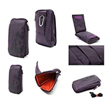 DFV mobile - Multi-functional Universal Vertical Stripes Pouch Bag Case Zipper Closing Carabiner for => BLU WIN HD, W510U > PURPLE (16 x 9.5 cm)