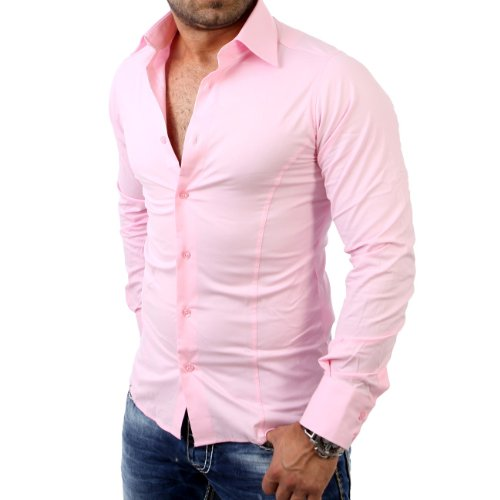 Redbridge Classic Chemise de travail Col chemise Manches 3/4 Homme - Rose - Rose - FR : Taille 18 (Taille Fabricant: 0)