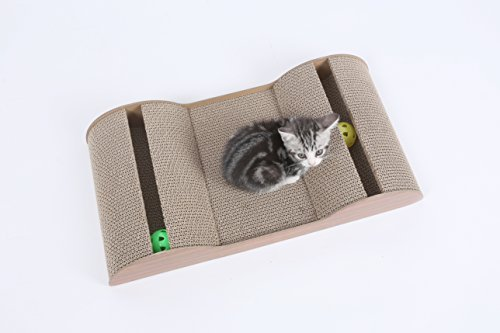"Hiding Pet Cat Scratch And Slide Wave Scratcher For Cats/Kittens, 23"" L x 12"" W x 4"" H, Brown"