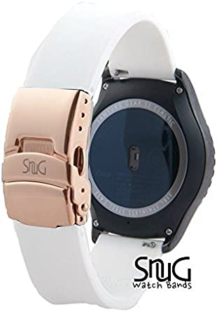 SnuG Watchbands Samsung Gear S2 classic 20mm Replacement Smart Watch Band fits Samsung Gear s2 CLASSIC only- Quick Release - Stainless Steel Deployant ...