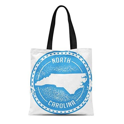 (Semtomn Canvas Tote Bag Shoulder Bags Outline Raleigh Vintage North Carolina Usa State Stamp Map Women's Handle Shoulder Tote Shopper Handbag)