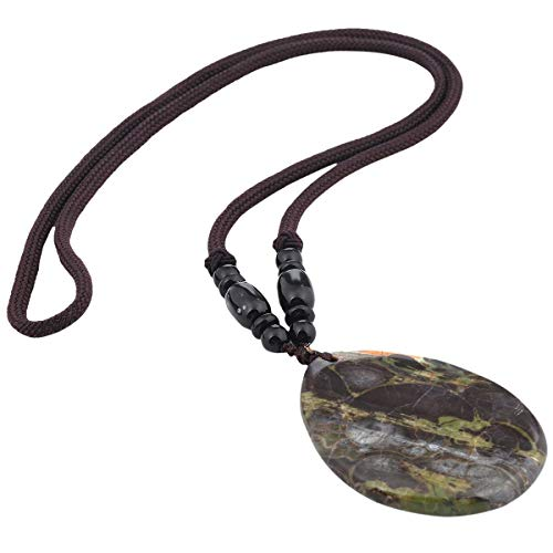 TUMBEELLUWA Stone Pendant Necklace Amulet Reiki Drop Shape Healing Crystal with Nylon Cord Handmade Jewelry for Women,Crazy Lace Agate Crazy Lace Agate Oval Pendant