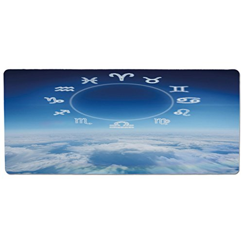 (Pet Mat for Food and Water,Astrology,Zodiac Signs Aquarius Pisces Aries with Sky Clouds Backdrop Art Print Decorative,Sky Blue and White,Rectangle Non-Slip Rubber Mat for Dogs and Cats)