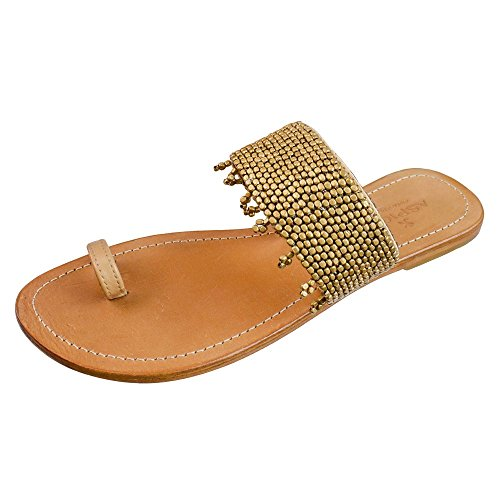 Aspiga - Sandalias de Piel Lisa para mujer marrón Leder hellbraun, Perlen in Gold 39