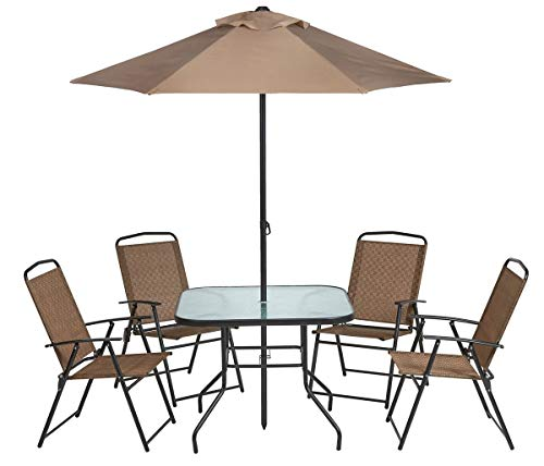 Umbrellas Patio Furniture - Outdoor 6-Piece Folding Patio Dining Furniture Set with Umbrella, Seats 4