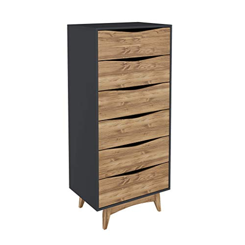 Manhattan Comfort CS48409 Tall Narrow Midcentury Dresser, Dark Grey/Natural Wood ()