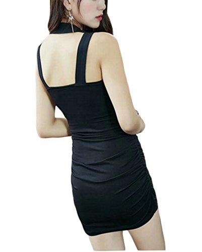 Di Jaycargogo Solido Colore Backless Donne Randello Bodycon Sexy Dal Fit Sottile Nero rqXXYxB7