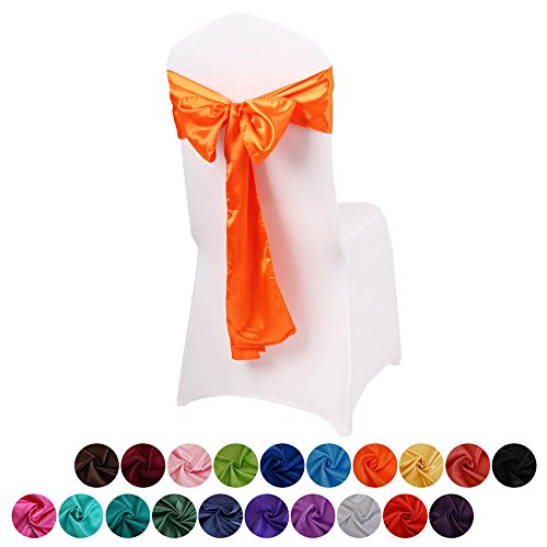 LOVWY Pack Of 10 Satin Chair Sashes 17 x 275 CM (Appro 6.7 108 Inches) For Wedding Party Engagement Event Birthday Graduation Banquet Decoration (Colors Optional) (Satin 10 PCS, Orange)