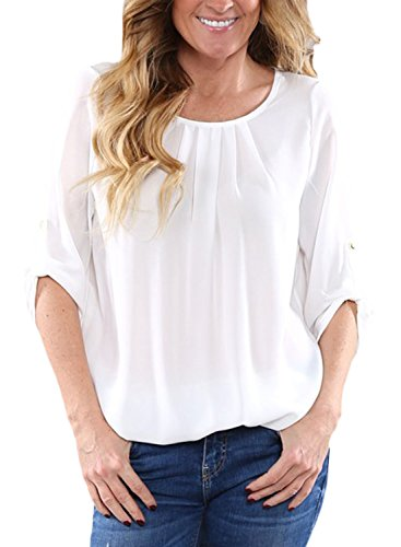 Dokotoo Womens Casual Solid Cuffed Sleeve Chiffon Blouses Tops T-Shirts
