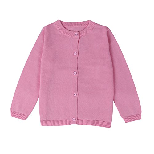 on-Down Cardigan Toddler Cotton Knit Sweater Pink 90 (Baby Girl Pink Knit Sweater)
