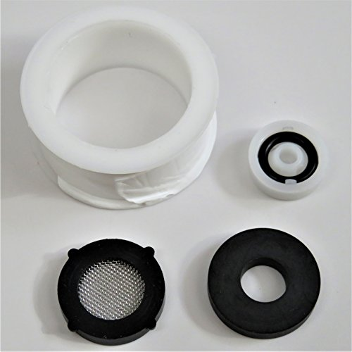 Screened Hose Washer (Shower Head Spare Parts - Flow Restrictor, Mesh Screen Black Rubber Gasket, Thick Teflon Tape For Showerhead Replacement - Aqua Elegante)
