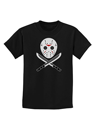 Scary Mask With Machete - Halloween Childrens Dark T-Shirt - Black - (Jason Mask For Sale)
