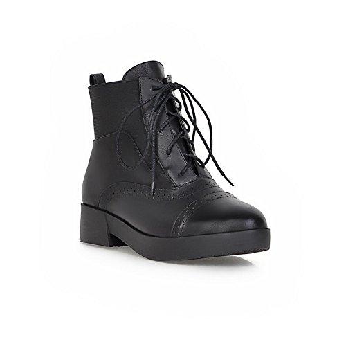 AdeeSu Womens Bandage Chunky Heels Platform Imitated Leather Boots Black MEm9U3