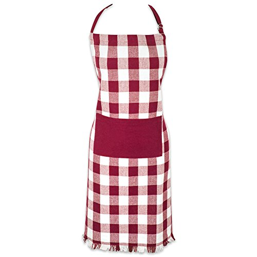 DII Cotton Adjustable Chef Apron with Pocket and Extra Long Ties, Woven Heavyweight Men and Women Fringed Kitchen Apron for Cooking, Baking, & BBQ - Wine, Check Plaid