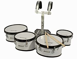 marching tom set 4 drum heads for marching band with marching carrier drum sticks amazon. Black Bedroom Furniture Sets. Home Design Ideas