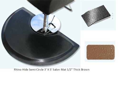 Rhino Mats BRH-3660SBR Rhino Hide Beauty Salon Non-Porous Vinyl Semi-Circle Mat, 3' Width x 5' Length x 1/2'' Thickness, Brown by Rhino Mats