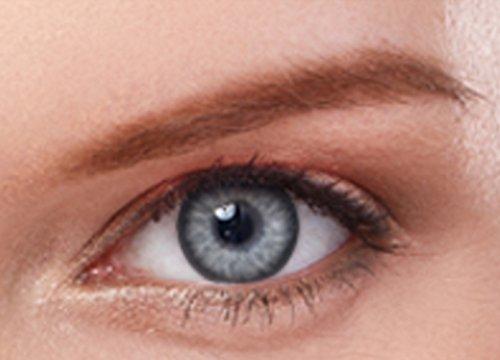 Farbige Kontaktlinsen Jahreslinsen GRAU gute Deckkraft ohne Stärke mit Aufbewahrungsbehälter