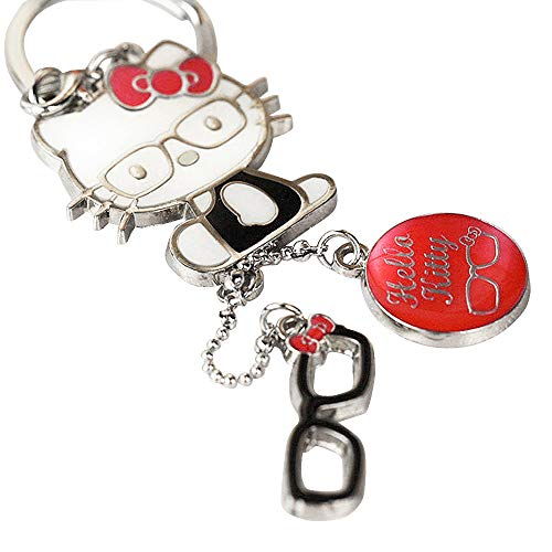 (Z122-B-2 Cute Adorable Red Style Hello Kitty Glasses Charms Keychain Key Ring)