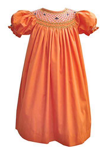Carouselwear Girls Halloween Orange Bishop Dress with Smocked Spider -
