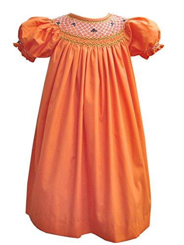 Carouselwear Girls Halloween Orange Bishop Dress with Smocked