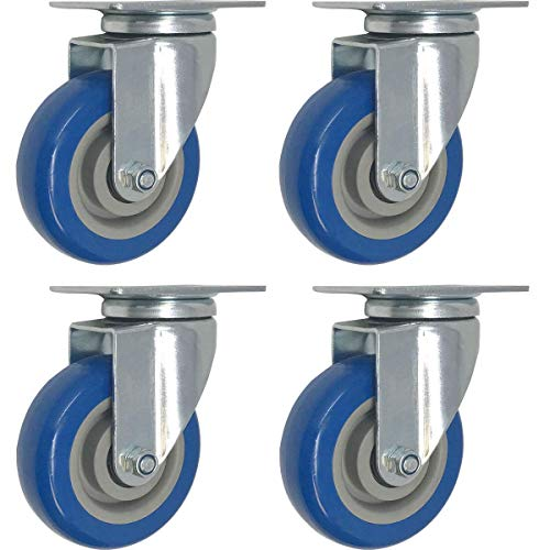 - 4 Pack Swivel Plate Casters On Blue Polyurethane Wheels (4 inch Plate)