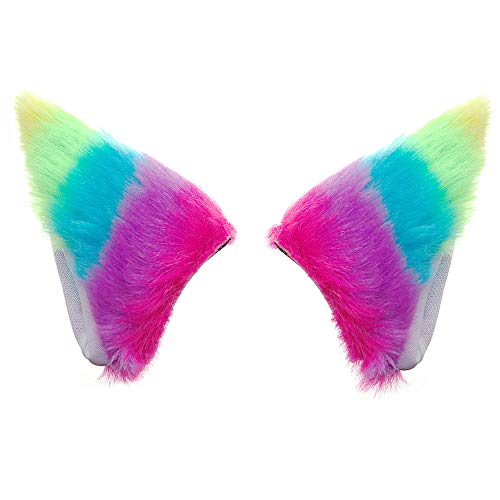E-TING Cat Fox Fur Ears Hair Clip with Headband Hairband Anime Party Costume Cosplay Accessories (Rainbow)