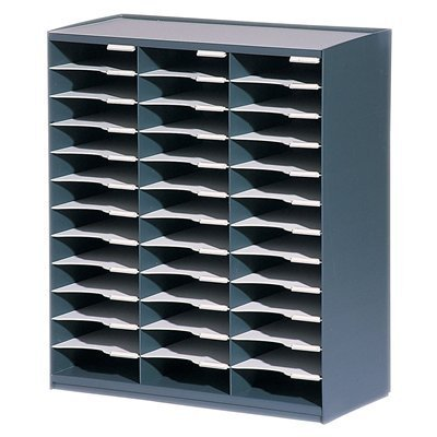 36 Compartment Literature Sorter (PaperFlow Stackable Master Literature Organizer, 36 Compartments, 31.14 x 26.5 x 12.13 Inches, Charcoal (803.11))