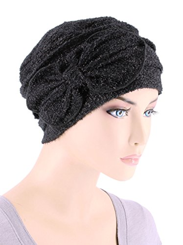 Chemo Winter Hat Soft Fuzzy Eyelash Ribbed Flower Bow Cloche Beanie Cancer Cap Onyx Black