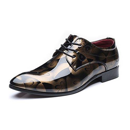 2018 Richelieus Homme, Chaussures à Lacets en Cuir Lisse Abstrait pour Homme Chaussures Classiques à Lacets en Mocassins à Lacets Bas Classiques Doublés (Extra-Large) Marron