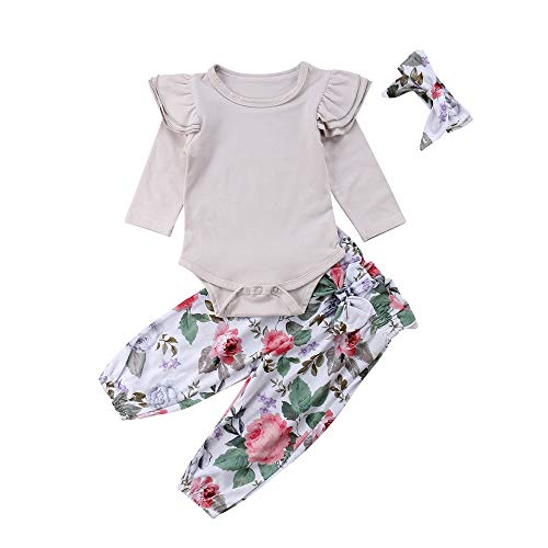 Wenjuan Newborn Infant Baby Girls' Romper Jumpsuit Ruched Frilled Panel Long Sleeve T-Shirt Top Sweater Blouse+Floral Pants Outfits Set ()