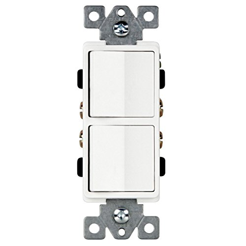 Enerlites 15 Amp Double Rocker Switch 62834-W | Single-Pole, Decorator Combination Rocker, Residential Grade, Grounding, Dual Light Paddles, Quiet Toggle| 15A, 120/277VAC, White Double Switch
