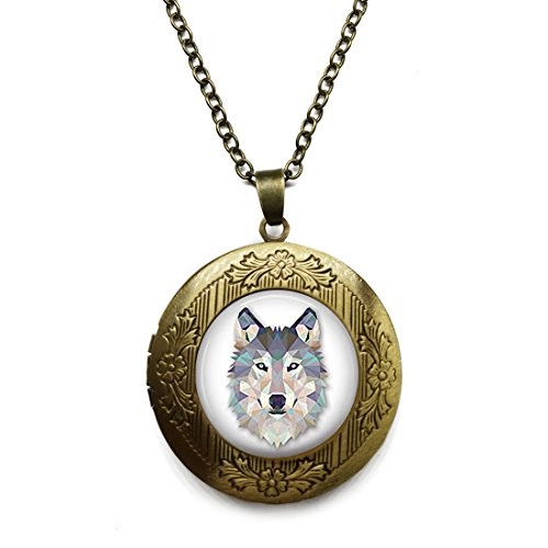 Vintage Bronze Tone Locket Picture Pendant Necklace Wolf Included Free Brass Chain Gifts Personalized