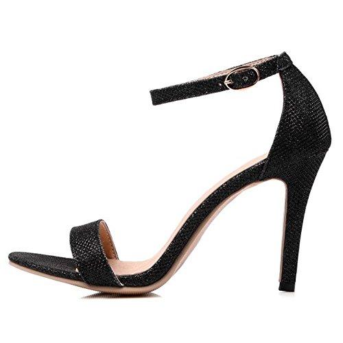 Sandals Noir High Heel Western Strap Toe Women Open Ankle Stiletto TAOFFEN zwan7vqW