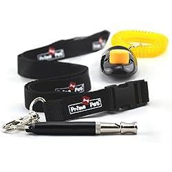 PRIME PET Ultimate Dog Training Kit: Adjustable Ultrasonic Dog Whistle with Anti Loss Cover + Breakaway Lanyard + Dog Clicker + Set of 3 Free Dog Training Ebooks