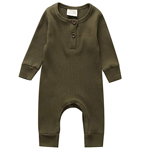 Kuriozud Newborn Infant Unisex Baby Boy Girl Sleeveless Button Solid Knitted Romper Bodysuit One Piece Jumpsuit Outfits Clothes (Long Sleeve one Piece Army Green, 0-3 Months)